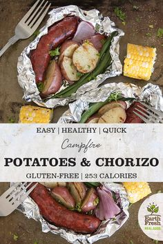 This Campfire Potatoes and Chorizo foil pack recipe is perfect for camping and c… – Food: Veggie tables Campfire Potatoes, Campfire Food, Campfire Recipes, Chorizo, Best Camping Meals, Camping Foods, Cabbage And Sausage, Grilled Sweet Potatoes, Foil Pack Dinners