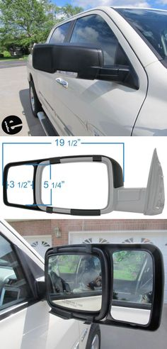 Custom-fit towing mirrors securely snap over your vehicle's factory mirrors. They match the contours of your factory mirrors and retain use of factory turn signals and puddle lamps. Survival Knife, Survival Tips, Dodge Ram Pickup, Chevy Pickups, Truck Accessories, Contours, Toys For Boys, Mirrors, Trucks