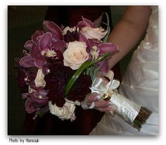 orchid and rose bridal bouquet