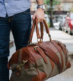 Charlie Waxed Canvas & Leather Duffel Bag by 11 Industries on Scoutmob Fashion Bags, Mens Fashion, Modern Fashion, Fashion Guide, Style Fashion, Cuir Vintage, Leather Duffle Bag, Canvas Leather, Waxed Canvas
