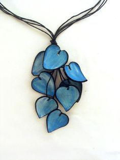 Blue statement leather necklace