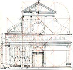 LEON BATTISTA ALBERTI Geometrical scheme of The facade of Santa Maria Novella, Florence,