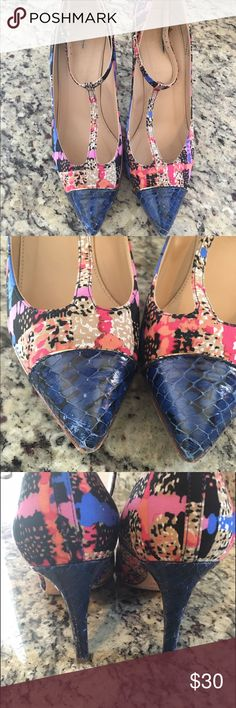 J.Crew Collection Everly Heel 7.5 Beautiful, T-strap shoes from J.Crew collection! These are a reposh - wanted them to work but they're just a tad too small  Some wear on shoes as noted in pictures, but not too noticeable IMO! J. Crew Shoes Heels