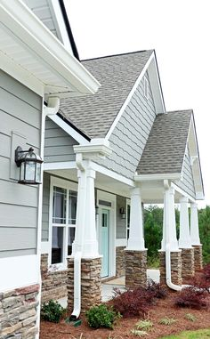 Home Exterior Paint Color. Home Exterior Paint Color Palette. The stone called Pennsylvania by Centurion.  Gray Exterior Paint Color Palette. Door: Waterscape by Sherwin-Williams; Siding: Dovetail by Sherwin-Williams   #HomeExteriorPaintColor #HomeExteriorPaintColorPalette Addison's Wonderland