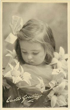 Vintage Easter Sweet Little Girl With Lilies 1909