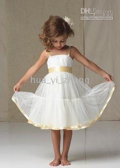 Wholesale A line Square Neckline with ribbon straps, sash and hem Knee Length Net Flower Girl Dresses, $37.06-43.66/Piece | DHgate
