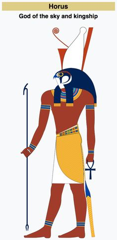 Horus was often the ancient Egyptians' national tutelary deity. He was usually depicted as a falcon-headed man wearing the pschent, or a red and white crown, as a symbol of kingship over the entire kingdom of Egypt.