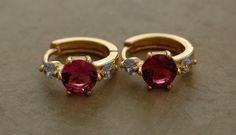 """1/2"""" Dark Pink Ruby Gemstone Huggie Earrings Brig Yellow Gold Filled Jewelry #Huggie"""