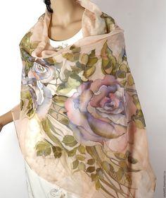 Купить Под солнцем Тосканы - Шелковый палантин - палантин, шарф, шелковый палантин, шифоновая роза