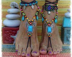 BOHO chic sandalias Descalzas colorido verano pie Joyería