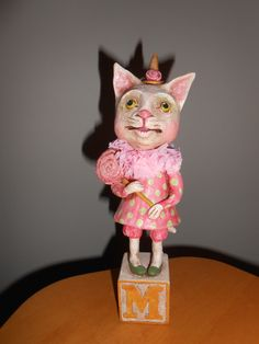 "WHITE CAT dressed, 9"" Original Debra Schoch piece. Paper Clay Matrerial."