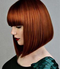 A Medium Red straight pob coloured bob multi-tonal womens haircut hairstyle by Ashley Gamble