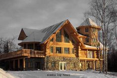 alaska log homes-   I don't that I would like living in Alaska but I wouldn't mind having this house as a vacation home in Alaska OR build this home in another state