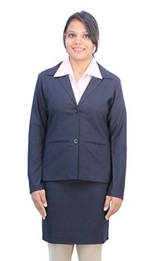 Women Clothing - Romano Womens Classy Blue Formal Blazer With Skirt Suit >>> Check out this great product.