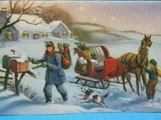Vintage Christmas Card Mailman Horse Drawn Sleigh Snow US Mail Hawthorne Sommer Christmas Mail, Vintage Christmas Cards, Customer Appreciation Day, Photo Letters, Horse Drawn, Postage Stamps, Snow, Horses, Retro