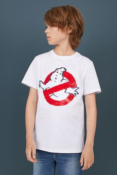 T-shirt med motiv - Vit/Vändbara paljetter - H&m Gifts, Ghostbusters, Fashion Company, Sleeve Styles, Online Price, Red And Blue, Personal Style, Short Sleeves, Sequins