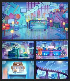 Cartoon Backgrounds on Behance Game Background, Cartoon Background, Animation Background, Color Script, Game Concept, Environment Concept Art, Visual Development, Gifs, Environmental Art
