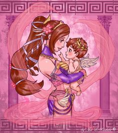Motherly Love © Medium- Digital Art Photoshop Fan Art! A drawing I did of Aphrodite and Cupid of SMITE❤