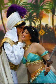 "Jasmine"" What Aladdin?"" Aladdin""The Genie canceled. He is on a honeymoon. Disney Couples, Disney Love, Disney Magic, Disney Parks, Walt Disney World, Disney Pixar, Disney Fairies, Disney Stuff, Family Costumes"