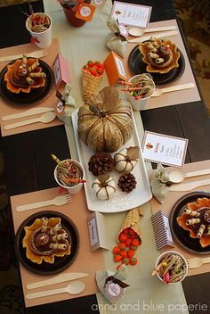 Thanksgiving Tablescape - cute idea for kids table