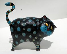 Chika the Cat  Paper Mache Clay Cat Sculpture by GinsLilCharacters