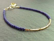 Armband aus Lapiz Lazuli mit Goldblatt