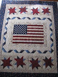 "I've been calling this quilt the Patriotic Quilt but the real name of the pattern is called, ""Liberty Ridge"" designed by Little Quilts. You can find the FREE pattern at Henry Glass & Co. Inc. I've provided you the LINK.  from Quilt Hollow"