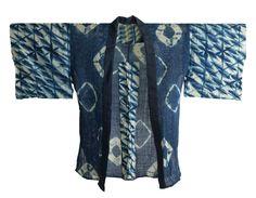"indigo dyed ""Juban"" an old Japanese clothes worn under ""Kimono"". dyed by techniques of ""Shibori-zome"" — Japanese traditional tie-dying. find more indigo dyed textiles on our website ↓ http://www.gallery-kojima.jp/boro/shibori/664-shibori/ No.664"