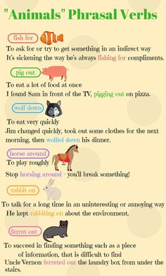 A number of phrasal verbs are formed by adding particles to the names of animals or verbs associated with animals ...