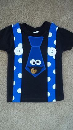 Blue Monster that Loves Cookies in Black Tie and by kwatson2010, $23.00