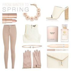 """From Winter To Spring '16"" by rachaelselina ❤ liked on Polyvore featuring J.Crew, Tory Burch, Estée Lauder, Valentino, TIBI, Henri Bendel, Paul & Joe, L'Oréal Paris and Forevermark"