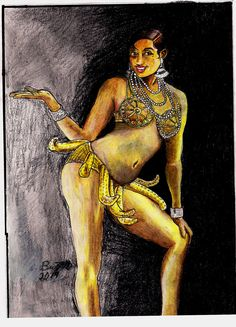 Josephine Baker: The Bronze Venus by Punch-line-designs. #art #women #african #burlesque #dancer