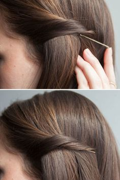 Twist your hair, and slip your bobby pin underneath to discreetly pin back your strands.  Insert a bobby pin with the open end pointing toward your face and in the opposite direction of the section you're pinning back.