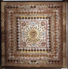Patchwork and appliqué quilt made by Mary Lloyd of Cardigan in 1840.