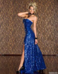 Rochie de seara lunga albastra, cu paiete