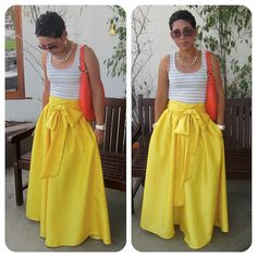 Very Full Regal Yellow Maxi Skirt w/ Sash Option by mimigstyle, $150.00