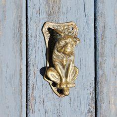 Antique Pug Dog Door Knocker Edwardian Brass