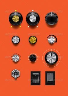 Control Knobs by SpaceExpert Realistic vector control knobs and buttons. Six different knobs with scales and shadows, different colors. One button and one togg