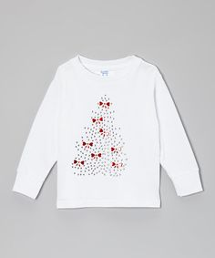 Another great find on #zulily! White Bow Christmas Tree Tee - Toddler & Girls #zulilyfinds