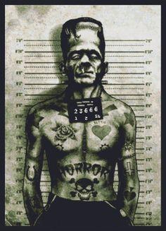 horror cross stitch  | Modern Cross Stitch Kit By Marcus Jones 'Franky Arrested' - Mug Shot
