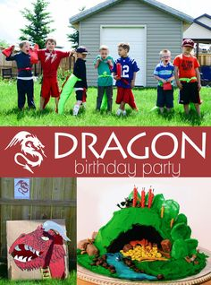 Dragon Birthday Party: game idea, cake, gift tails.