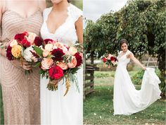 Merlot Bridal Bouquet color scheme | Golden Adrianna Papell Wedding Dress | Rustic Barn Wedding | Rodale Institute Wedding Photography | Julianna and Dave