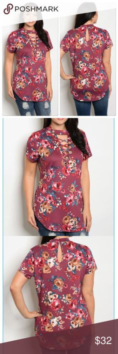 Plus floral lace up top Perfect fitted top for everyday wear! Plus size deep burgundy floral print top. Mock neck with lace up detailing, short sleeves, rounded hem, fitted shape. Heavy jersey knit. 96% polyester 4% spandex. Tops