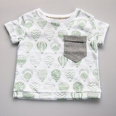 Organic Cotton Hand Printed Baby Summer Tee - Green Balloons on White by Fable Baby & Nursery