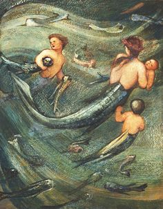 quilt sew-lines to reveal picture....colored how many dreams are breathing underwater?  .....Mermaids in the Deep, Edward Burne-Jones, 1882
