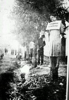 """""""Suçları boyunlarında ki kağıtlara yazılarak,ağaçlara asılıp idam edilen Yahudiler,Rusya..."""""""