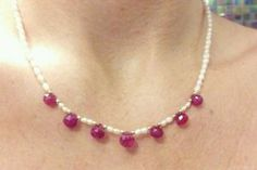 10 carats genuine heart shape ruby necklace solid 14k gold and freshwater pearls