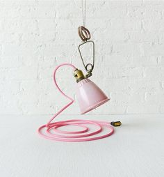 Give your room a rosy glow with a vintage pink clamp lamp. #etsyvintage