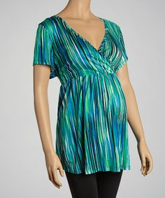 Take a look at this Green Surplice Belted Maternity Top - Plus by Three Seasons Maternity on #zulily today!