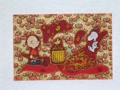 Charlie Brown Postcard Quilted Fabric Appliqued Welcome Fall